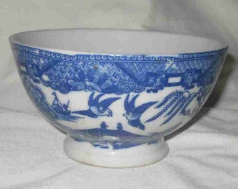 """2 3/4"""" X 4 3/4"""" X 2 1/4"""" Japan Blue Willow China Footed Rice Bowl"""