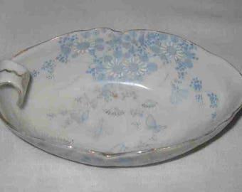 "Neat Vintage 6"" X 3 1/4"" Thumb Bowl Blue Flowers"