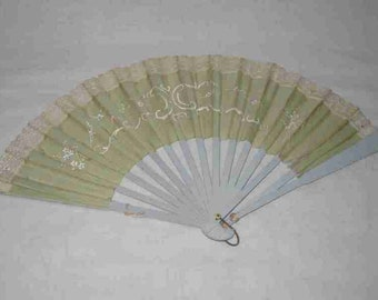 Neat Vintage Pair Hand Fans AS IS Birds Flowers