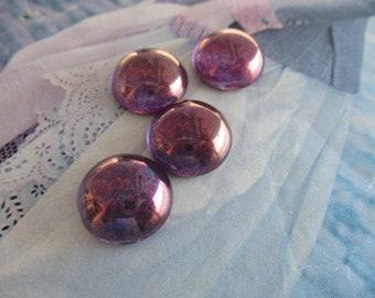 Czech Purple Lustre Glass Cabs 15mm 2Pcs. Czech Purple Luster Glass Cabs 15mm 2Pcs.