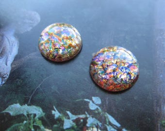 Czech Red Multi Opal Glass Cabs 15mm 2Pc.