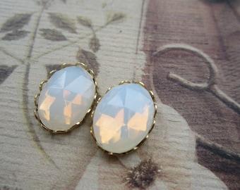 Vintage Czech Glass Fiery Opal Cabochons With Settings 18x13mm 1Pr.
