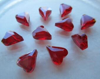 Czech Thick Angular Ruby Red Glass Heart Beads 10Pcs.