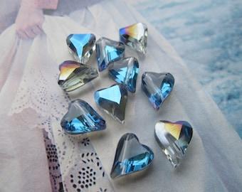 Czech Thick Angular Helio Blue Glass Heart Beads 10Pcs.