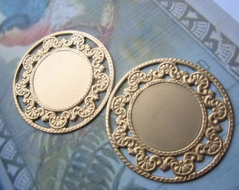 Round Raw Brass Backing Or Setting Stamping With Ornate Filigree Trim 2Pcs.