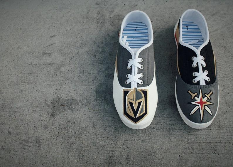76053b31da Vegas Golden Knights Custom Painted Shoes Womens