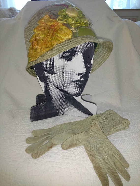 Vintage Bucket Hat With Millinery Flowers and Glov