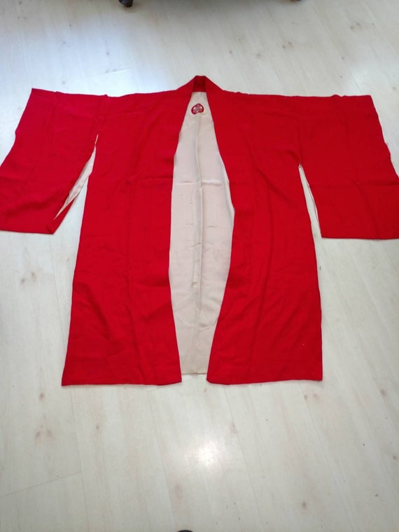 Antique Japanese Red Silk Kimono 1920's