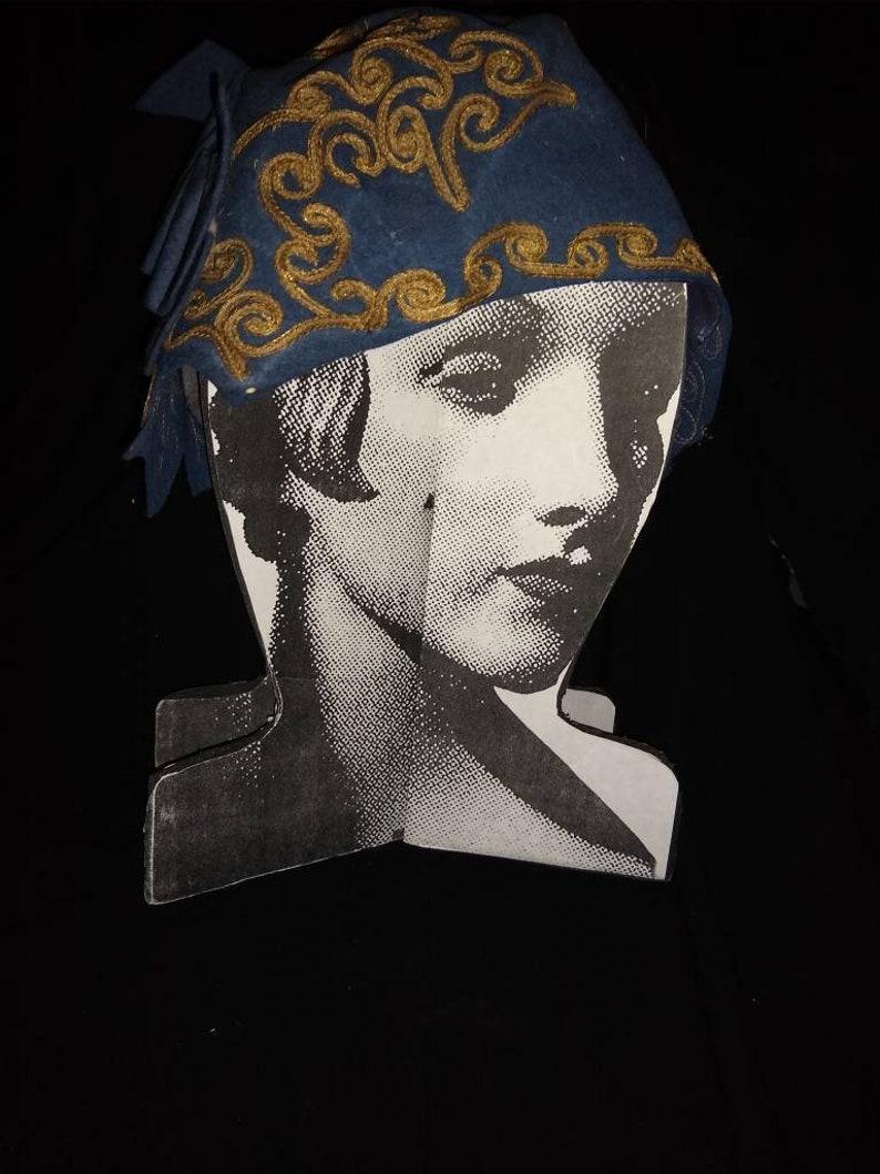 Amazing Cloche Wool Downton Abbey Blue Gold Braid Donna Marie Paris New York