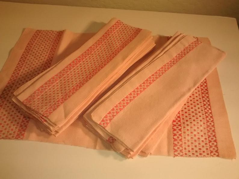 Silver Fleck Vintage Pink Stripe Linen Place mats and Napkins
