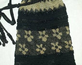 Beautiful micro beaded art deco purse black and taupe