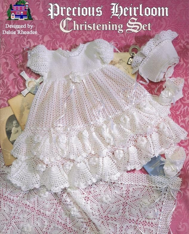 Crochet Christening Gown Outfit Baby Dress Blanket And Etsy