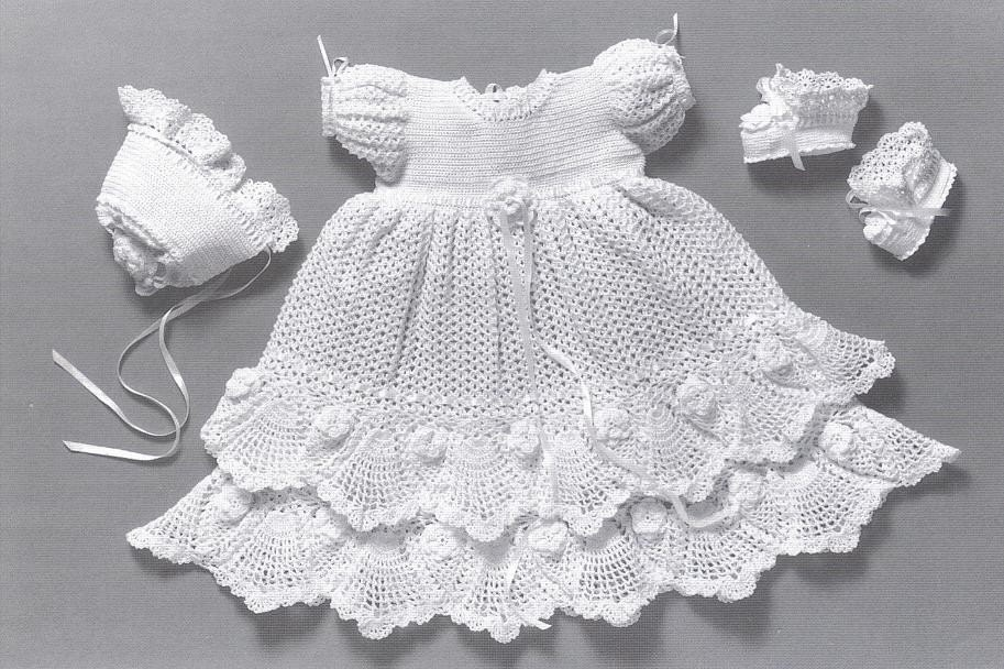 Magnífico Crochet Patrón De Vestido De Bautizo Bandera - Ideas de ...