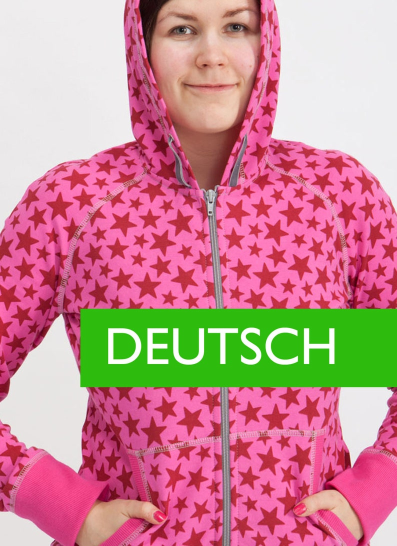 E-PATTERN for a Women's hoodie in GERMAN sizes 34-52 EU image 0