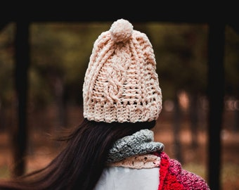 Knit cable hat, white cable hat, crochet cable hat, crochet beanie, cable knit beanie women's winter hat, women's knit hat, cable hat