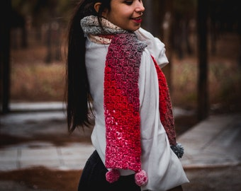 Ombre scarf, long crochet scarf, red crochet scarf, winter grey scarf women's winter scarf simple women scarf long ombre cowl pom pom scarf