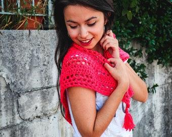 Fuchsia crochet scarf, pink triangle scarf, fuchsia triangle shawlette, Boho crochet scarf Pink neckwarmer, mesh crochet shawl, crochet cowl
