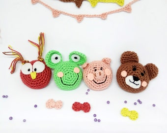 Amigurumi pocket friends, Natalumis pattern, easy crochet pattern, easy amigurumi animal, cute animal pattern, bear owl pig frog toy pattern