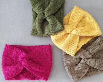 Wide knit headband, knitted twisted earwarmer, cute knitted headband, twisted headband, cute hair accessories, knit twist head band