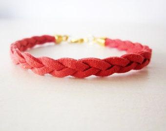 Red leather bracelet, Red braided bracelet, Coral red bracelet, Minimal bracelet, Stacking bracelet, Suede leather rope bracelet coral red