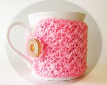 Pink cup cozy, Crochet coffee cup cozy, Pink mug warmer, Crochet pink mug sleeve, Pink tea cup cozy, Cute coffee lover gift, Pink mug cozy