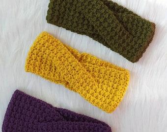 Crochet headband, crochet headwrap, crochet earwarmer, crochet twisted head band, cute crochet headband, crochet turban, twisted headband