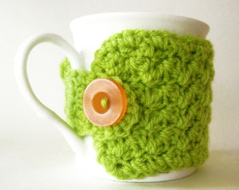 Lime green coffee cup cozy, Green cup cozies, Crochet green mug cozy, Coffee mug cozy, Tea cup cozy, Cute coffee lover gift, Green mug cozy