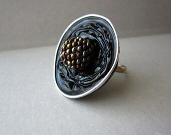 Large black ring, Black statement ring, Big black round ring, Black gothic ring, Black beaded ring, BDSM black ring, Cyber gothic ring