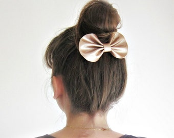 Champagne leather hair bow barrette, Metallic shine patent leather hair bow, Large bow bun hair, Bronze shine leather bow, Big hairbow clip