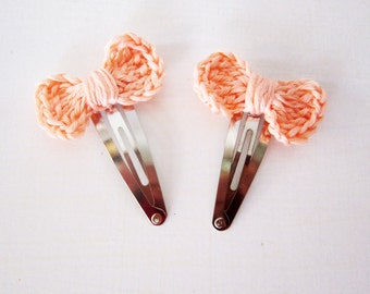 Baby hair bow set, Crochet hair bow, Pink hair bow, Pink crochet bow, Cute baby hair clip, Snap clip bow, Girls hair bow clip, Cute pink bow