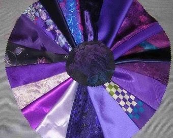 20 PCS Passionate Purple Fancy Fabric for Crazy Quilts, Art Quilts & Art projects