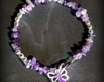 Purple Ribbon, Amethyst Bracelet, Purple Ribbon & Butterfly Bracelet, Lupus, Pancreatic Cancer, Fibromyalgia, Suicide Prevention, Epilepsy