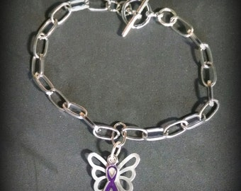 Purple Ribbon, Purple Ribbon & Butterfly Bracelet, Lupus, Pancreatic Cancer, Fibromyalgia, Suicide Prevention, Epilepsy, Sarcoidosis