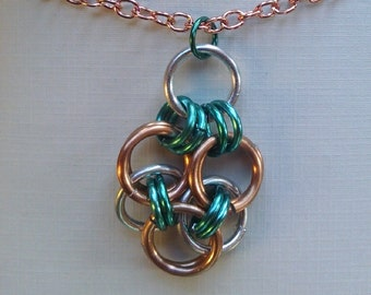 Chain Maille Necklace, Celtic Knot, Anodized Copper, Silver and Turquoise Aluminum