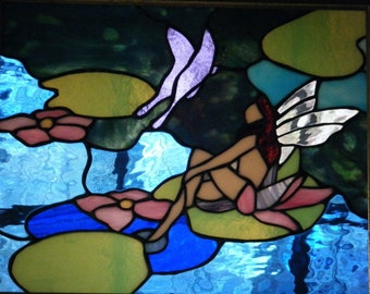 Stained Glass Panel, Fairy Stained Glass, Fairy with Butterfly Stained Glass Picture
