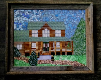 Custom House Mosaic, House Mosaic, Building Mosaic, School Mosaic, Church Mosaic