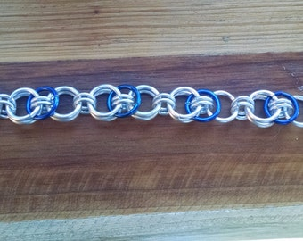 Chain Maille Bracelet, Anodized Silver and Royal Blue Aluminum,  7.5 inch, Chain Mail, Chainmaille