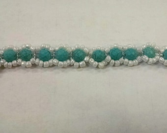 Hand Woven Bracelet, Turquoise and White Bracelet, Beaded Bracelet