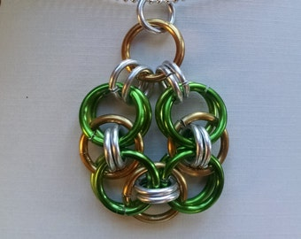 Chain Maille Necklace, Celtic Knot, Anodized Copper, Silver and Green Aluminum