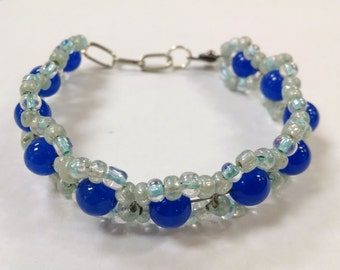 Hand Woven Bracelet, Blue Cat's Eye Bracelet, Beaded Bracelet