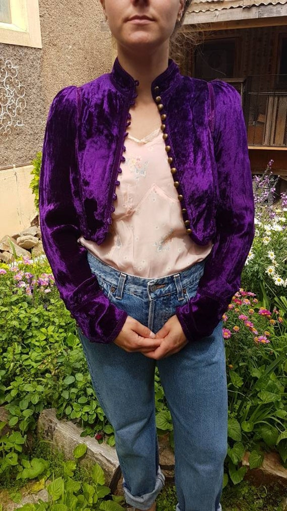 Purple Velvet Bolero Jacket Hippie Boho
