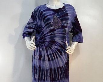 24ad403bcb4 Size L purple tie dye cotton interlock nightgown