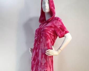 Size M hot pink tie dye hoodie bamboo dress.