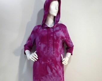 Size M pink/purple tie dye hoodie bamboo lounge dress.