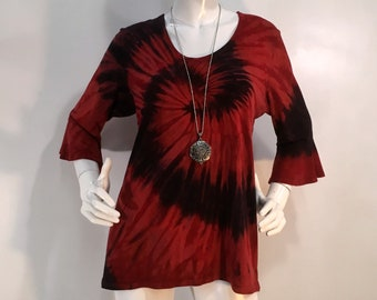 Red & black tie dye bamboo top with flounced 3/4 sleeves and scoop neck.