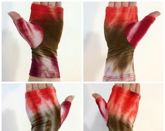 Brown & red tie dye bamboo fingerless gloves, wrist warmers, fingerless gloves.