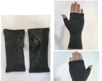 Charcoal grey fingerless gloves, wrist warmers in cotton/spandex.
