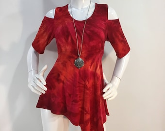 S red tie dye, cold shoulder bamboo top.