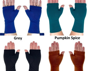 Bamboo fingerless gloves, texting gloves, wrist warmers in solid colours.