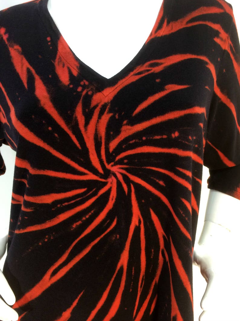 Size XL black tie dye bamboo top with  vee neck and 34 sleeves.
